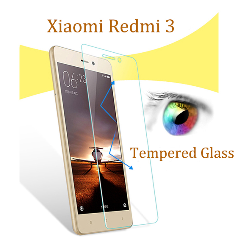 wholesale 2pcs Protective glass on the for Xiaomi Redmi 3 Tempered Glass 0.26mm Redmi 3 screen protector film mobile accessories