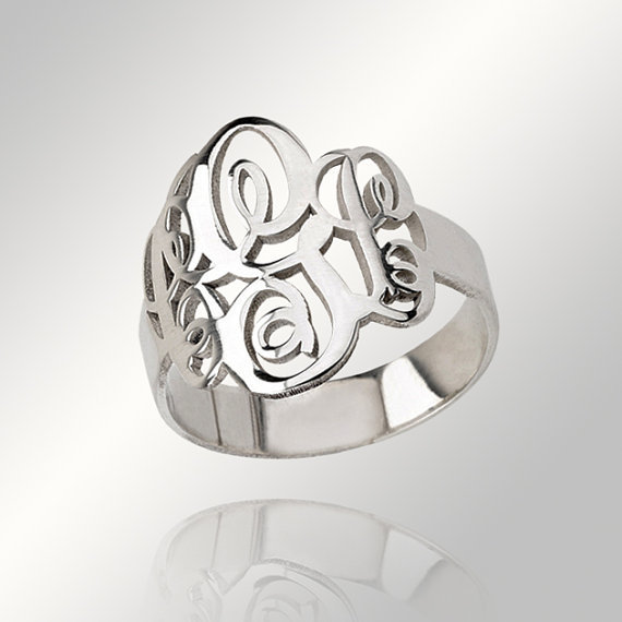 Wholesale Sterling Silver Monogram Ring Personalized Initial Hand Cut Custom Bridesmaid Jewelry