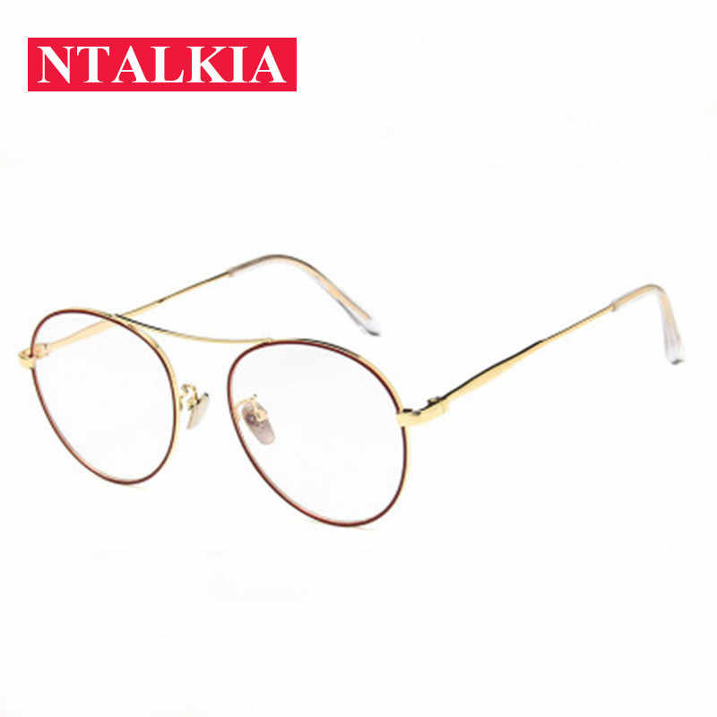 0c02ff118ae8 Real Monturas De Gafas Korean Double Beam Metalframes Male Female clear  lens Retro Fake no degree