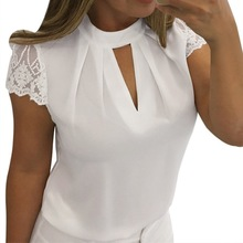 Women's Lace Blouses 2019 Sexy Hollow Tops Women Solid Casual Office Sh