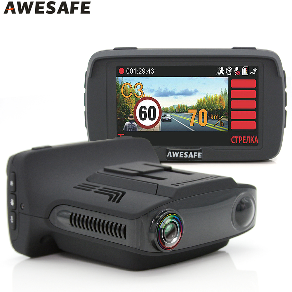 AWESAFE Car DVR Radar Detector GPS 3 in 1 Car detector Camera Ambarella A7LA50D Full HD