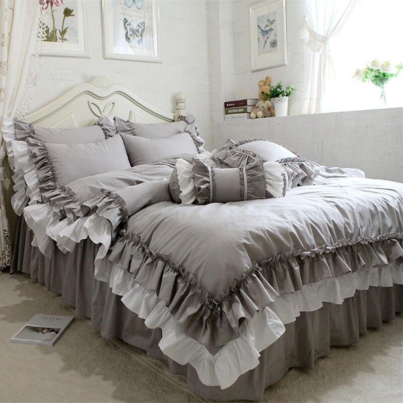 Новый комплект постельного белья в европейском стиле, Двухслойное постельное белье с рюшами, пододеяльник, простыня для свадьбы, декоратив