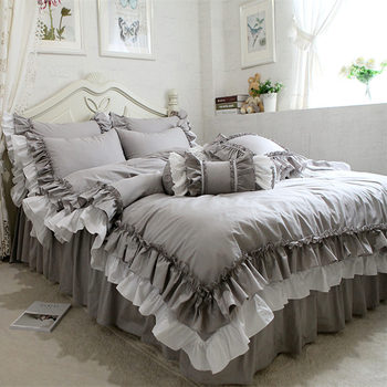 New European Double Layers Bedding Set Ruffle Duvet Cover Bedding Wrinkle Bedspread Bed Sheet for Wedding Decorative Bed Clothes
