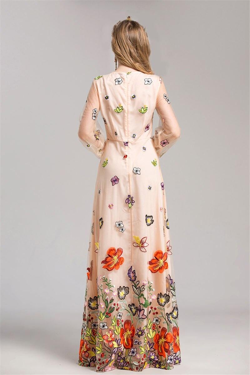 HTB1TZaTdfjM8KJjSZFyq6xdzVXas - 2018 Spring High Quality Mesh Floral Embroidery Long Dress Full Sleeve Vintage Flower Black Runway Designer Maxi Women Desses