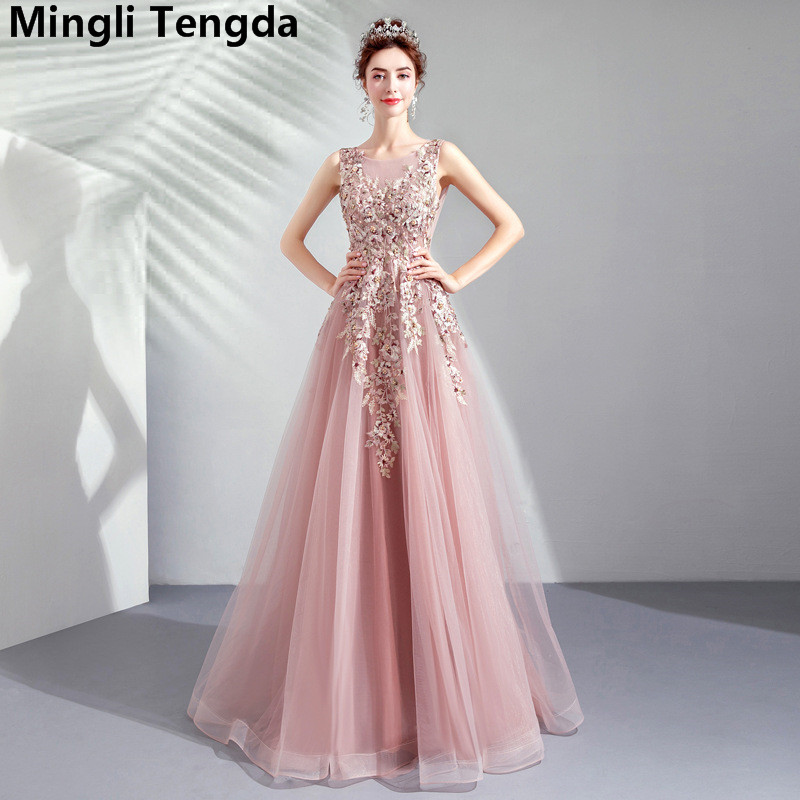 Elegant Bean Sand Pink Long   Dress   for Wedding Party Appliques Lace   Bridesmaid     Dresses   robe demoiselle d'honneur Mingli Tengda