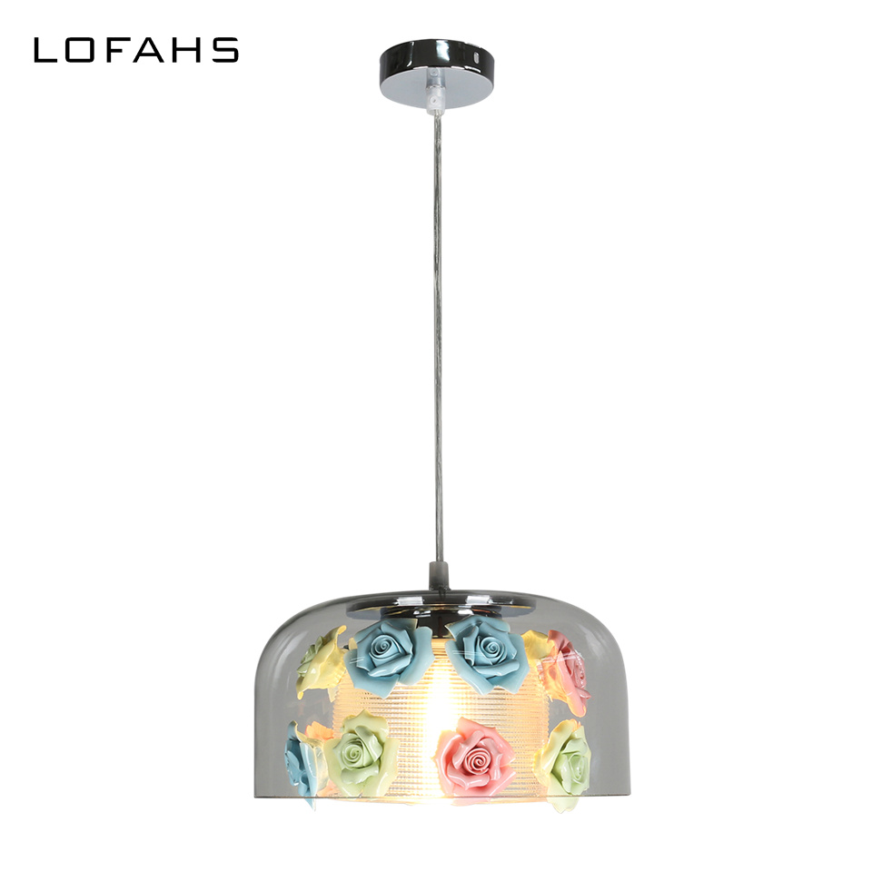 Modern Pendant Lights Exquisite glass with ceramic flowers creative hanging lamps bar living room dining room restaurant LY1862 creative design modern led colorful glass stone pendant lights lamps for dining room living room bar glass lights