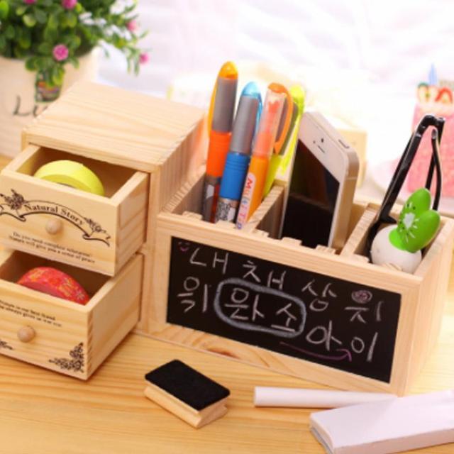 Charmant Wooden Pen Holder With Blackboard Cute Desktop Pencil Holder Desk Tidy  Organizer Pen Pot Office Accessories