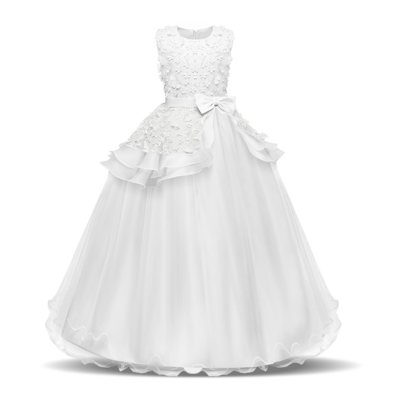 Flower Girl's Birthday Banquet Formal Children Dress Kids Dresses for Girl Wedding Long Teenage Girl First Communion Lace Gown