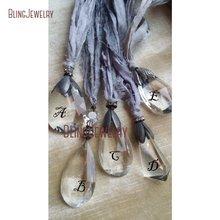 Потертая Бохо сари шелковая лента, ожерелье каплевидные прозрачные кристаллы кварцевый окисленный черный колпачок подвеска веревка цепочка ожерелье NM11483
