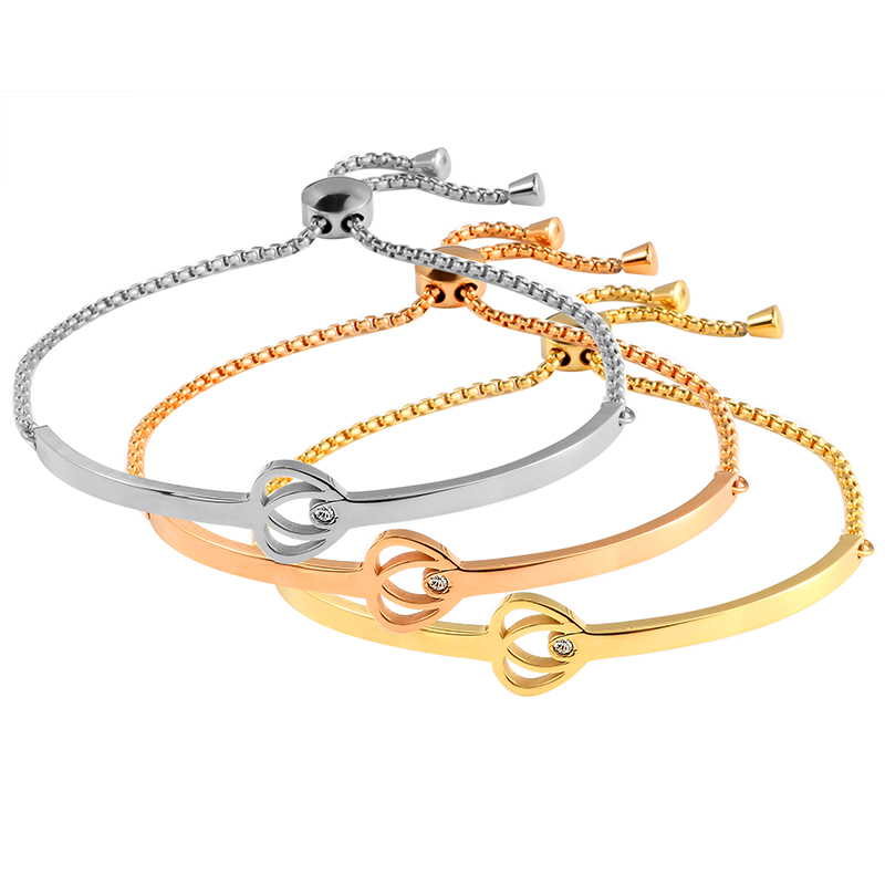 Stainless Steel Gold Color Bangle Bracelets for Woman Man CZ Crystal Inlaid Heart Wristband Luxury Brand Jewellery Wedding Gift