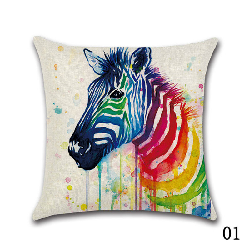 New Colorful Animal Zebra elephant bird Linen Cushion Cover Watercolor Rainbow Decorative Throw Pillow Case Cover Home Decor