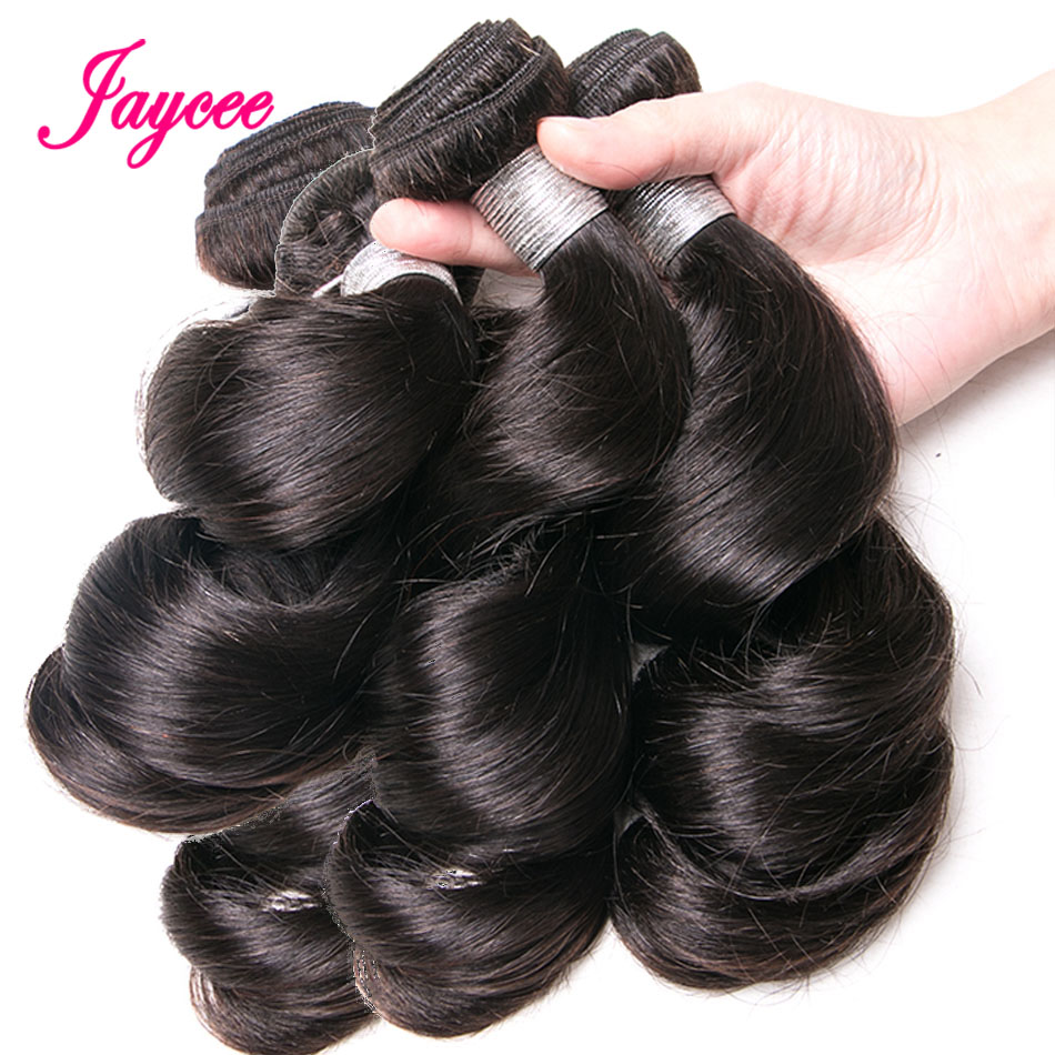 Jaycee Loose Wave Bundles 4pcs 8-26inches Brazilian Hair Weave Bundles Remy Human Hair Weave Extensions Natural Black