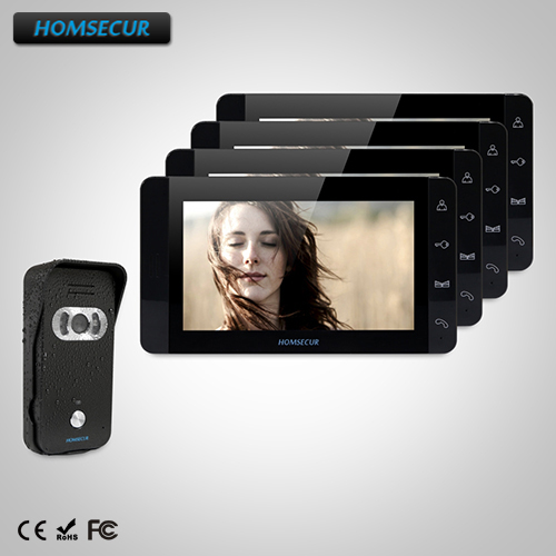 HOMSECUR 7 Wired Video&Audio Home Intercom+One Button Unlock for Home Security TC021-B + TM703-B