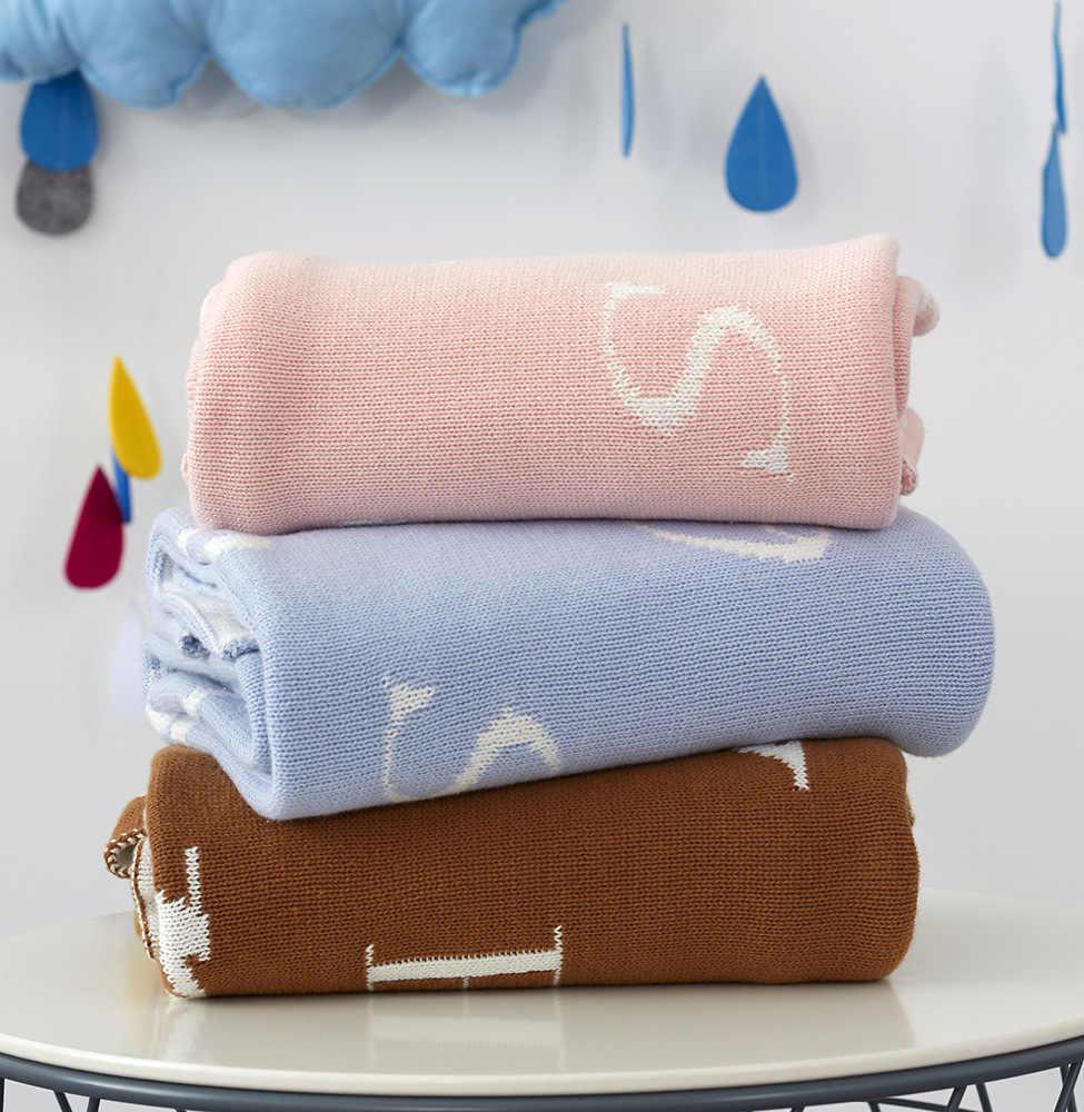 2017 브랜드 100% 코튼 두꺼운 검정 흰색 문자 니트 Plaids 담요 어린이 학교 침구 담요 아기 Swaddle 5 색
