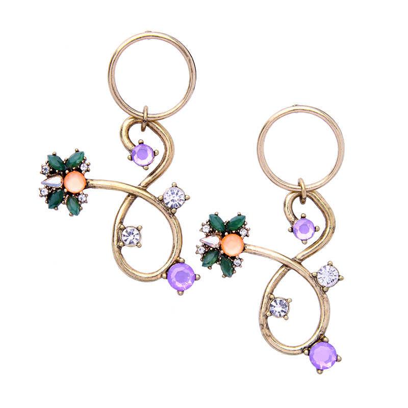 キス私カラフルなクリスタル 8 形の花のイヤリング女性のための新ステートメント合金ヴィンテージドロップピアスヴィンテージジュエリー