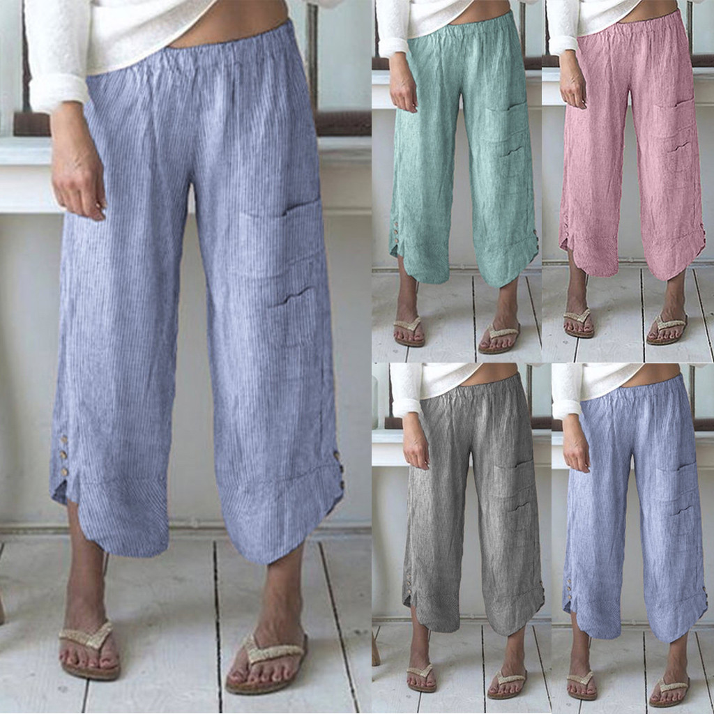 Linen Elegant Loose Ninth Pants Women Plus Size Stripe Pocket Wide Leg Pants Cotton Linen Trousers High Waist Wide