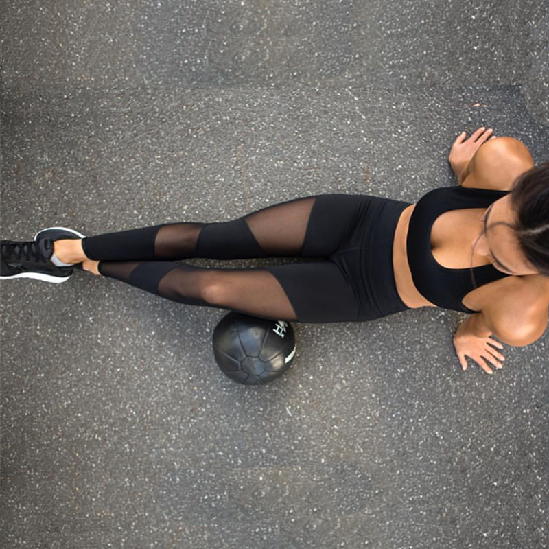 Black Mesh Splice Fitness Leggings Female Clothing Harajuku Athleisure Slim Push Up Leggings Women Elastic Black Sexy Jeggings