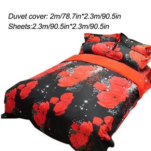 Image 4 - New Beautiful 3D Flower Rose Feast Pattern Bedding Set Bed sheets Duvet Cover Bed sheet Pillowcase 4pcs/set hot sale