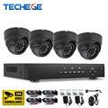 Techege sistema 4ch 720 p ahd dvr hdmi 4 unids 720 p 1.0mp ahd cámara de interior sistema de seguridad para el hogar kits de vigilancia 1200tvl