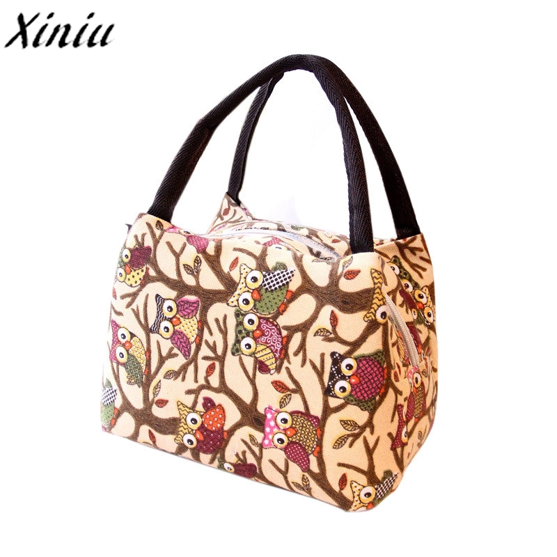 Lunch Bag Owl Printing Thermal Insulated Tote Picnic Lunch Cool Bag Cooler Handbag Pouch lunch box Bolsa De Marmita #5110