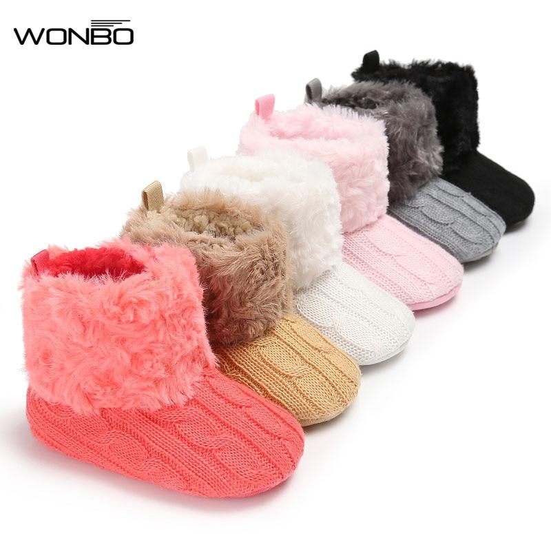 Wonbo Baby crochet shoes Boy Girls Shoes Soft Sole Kids Toddler Infant Boots Prewalker crochet booties First Walkers