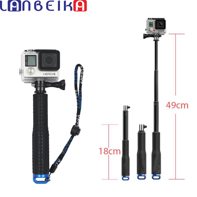 LANBEIKA 49cm SP POV Pole Extendable Handheld Monopod Self Selfie Stick Mount for SJCAM SJ5000 SJ6 SJ7 Go Pro Hero 6 5 4 3+ Eken