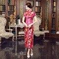 Free Shipping Hot Pink Womens Long Cheongsam Qipao Traditional Chinese Dress mandarin collar chinese wedding dress