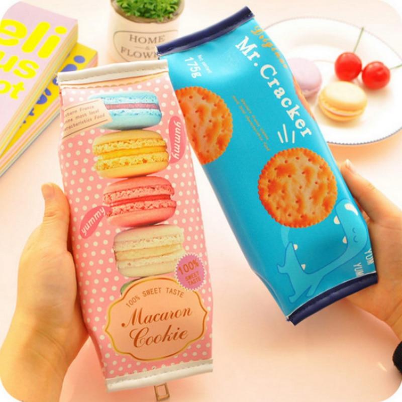 Kawaii Macaron Cookie PU Leather Bag Pencil Case For Girl Stationery Estojo Escolar School Supplies Papelaria Utiles Escolares