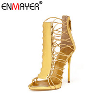 ENMAYER Thin High Heels Round Toe Party Zip Genuine Leather Sexy Gold Shoes Women New Fashion Style Summer Women Pumps for Party
