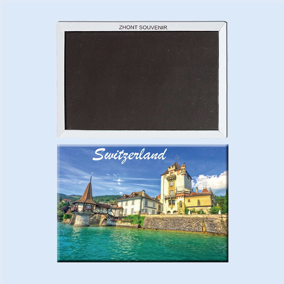 Switzerland old house on the waterfront 22599 Landscape Magnetic refrigerator gifts for friends Travel souvenirs image