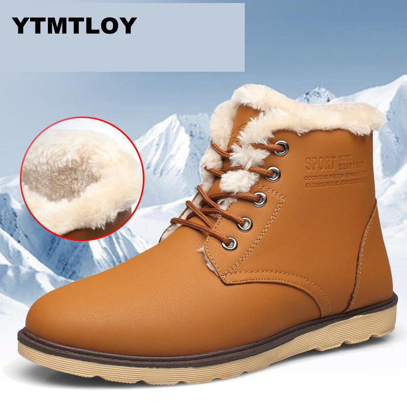 Fashion Men Boots Plush Fur Warm Waterproof Male Winter Boots Lace Up Male Winter Boots Flat Leather Tactical Boot