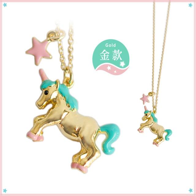 Exclusivo 1 unid japón oro color plata unicornio colgante collares cortos para mujer unique chic clavícula cadena de joyería