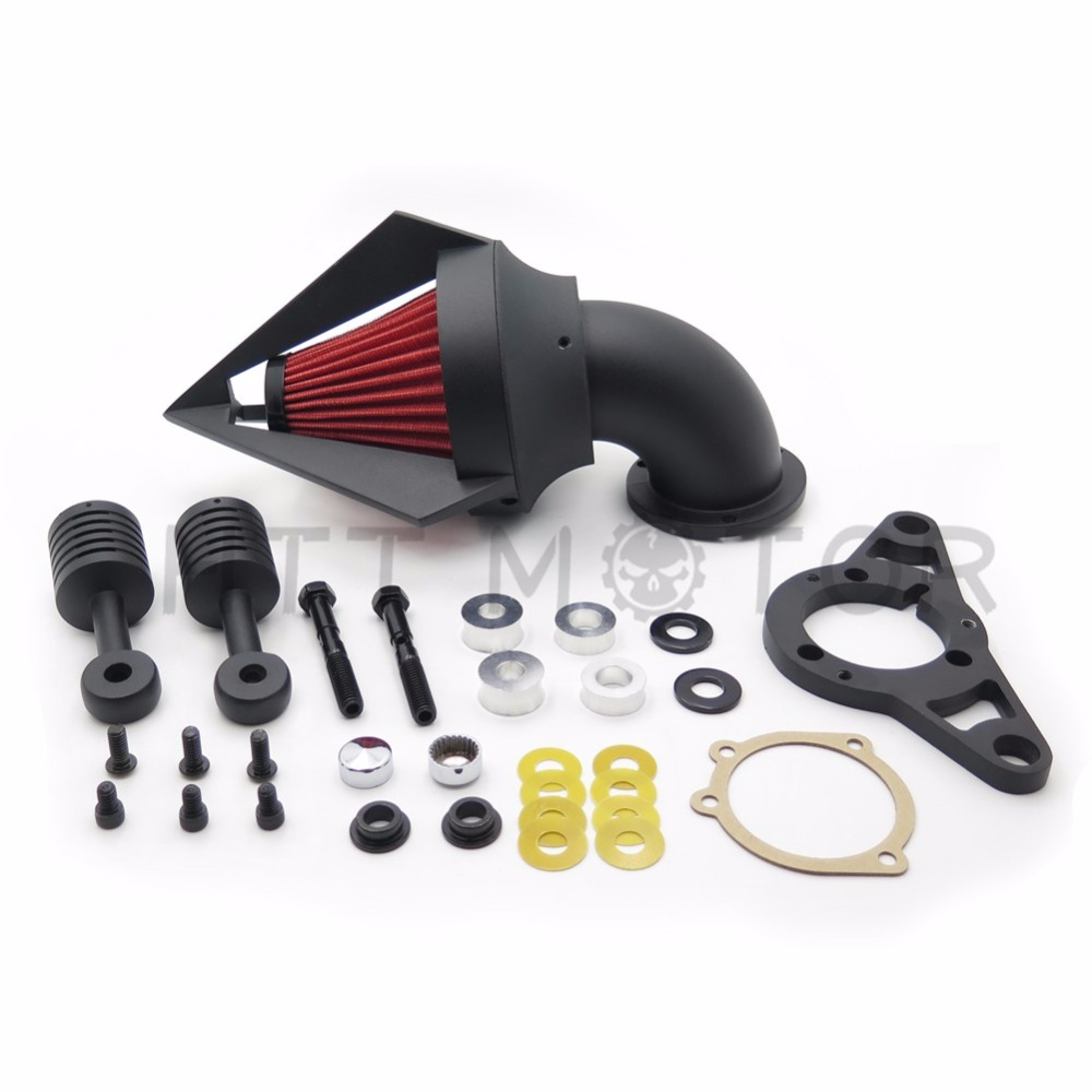 Aftermarket free shipping motorcycle part Cone Air Cleaner for Harley Davidson Softail Fat Boy Dyna Street Bob Wide Glide BLACK rst 001 bk black aluminum rear seat mounting tab cover for harley sportster dyna softail street glide street bob touring