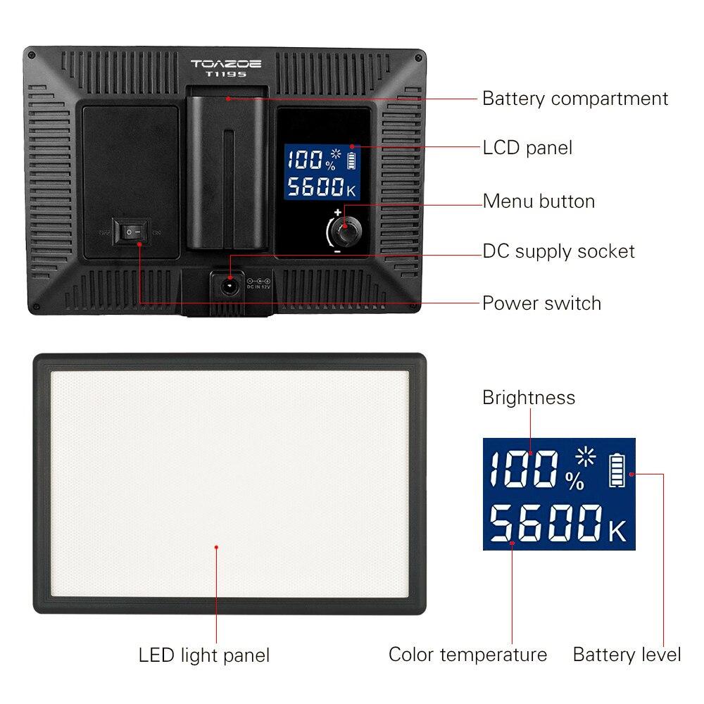 Luz de video LED TOAZOE T119S Pantalla LCD ultradelgada bicolor - Cámara y foto - foto 4