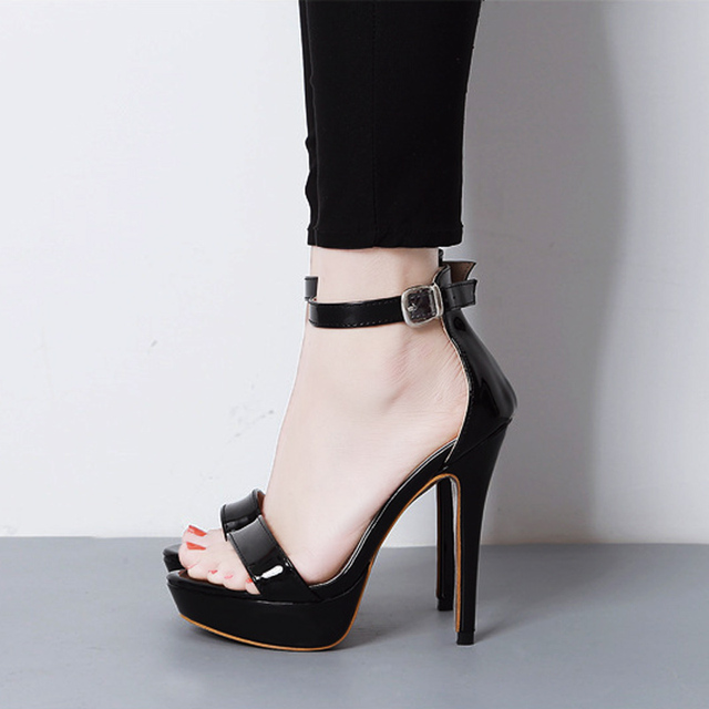 a68b850abde Summer Women s Sandals Concise Peep Toe Woman Shoes Square Thin High Heels  Sexy Nightclub Models Stilettos Black Wedding Shoes