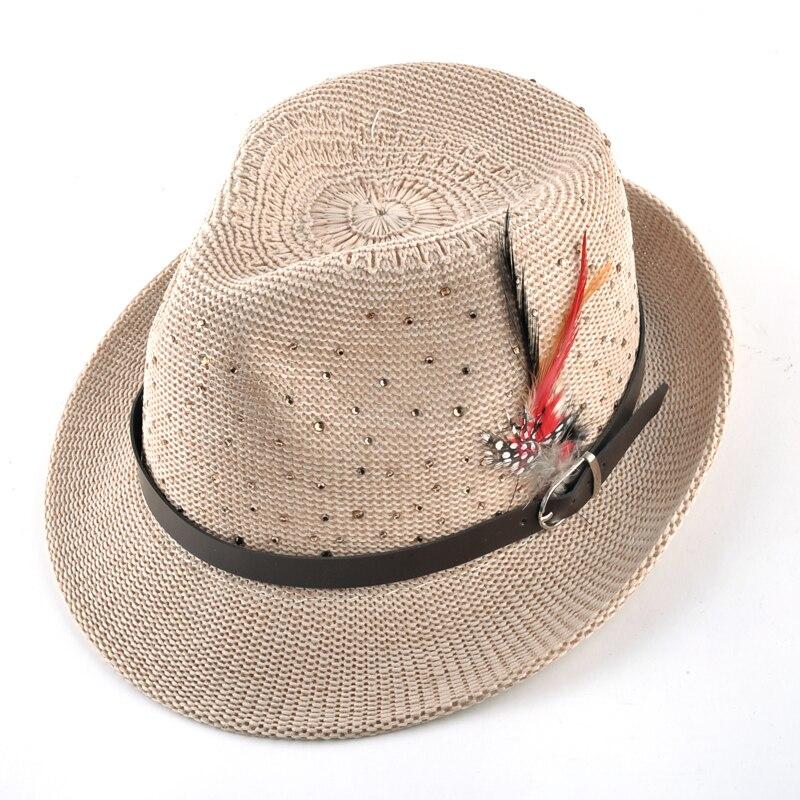 Fashion Summer Unisex Fedoras Caps Panama Straw Hat Men's Sun Beach Feather Cap Breathability Hats For Women chapeu feminino 2