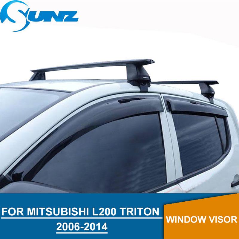 Noir fenêtre déflecteurs d'air pour Mitsubishi l200 triton 2006-2014 côté fenêtre pare-pluie gardes pour Mitsubishi l200 2006- 2014 SUNZ
