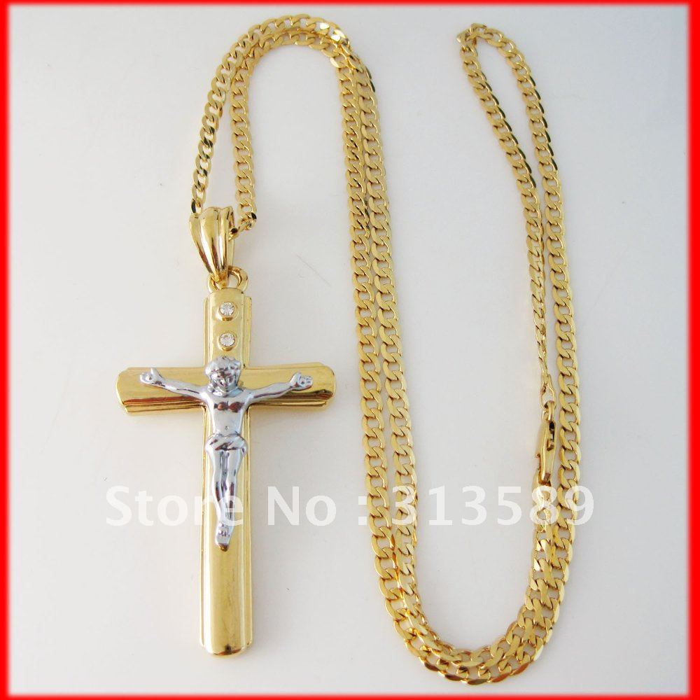 Min order 10$ CAN MIX DESIGN NEW - YELLOW GOLD GP OVERLAY 24 inch 1 LINK CUBAN NECKLACE&JESUS CROSS GOD CZ STONE PENDANT/ Seven Kingdoms Jewelry store