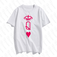 2019 O Neck Couple Costume King And Queen Art Cotton T-Shirt Figure Printed Sleeve Fashion Casual Tops & Tees Brand Unisex(China)