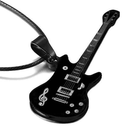 Cool Men's Stainless Steel Necklace Guitar Shape Musical Note Pendant Leather Necklace Jewelry Gift Fashion