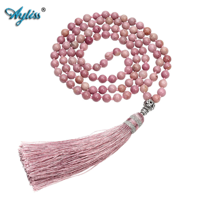 Ayliss 6mm Natural Rhodochrosite/Moss Carnelian 108 Buddhist Prayer Bead Tibetan Mala Multilayer Wrap Bracelet Necklace w/Tassel стоимость