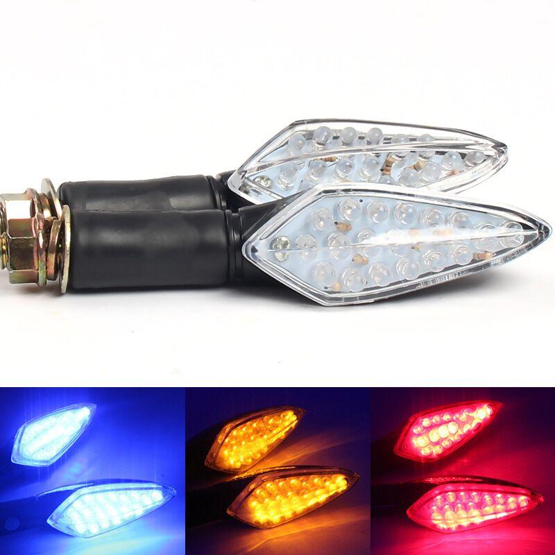 2x 3 Color Motorcycle LED Turn Signal Indicator Light Flasher Lamp For Honda CBR CB F2 F3 F4 F4i F5 Yamaha R1 R6 Suzuki Kawasaki