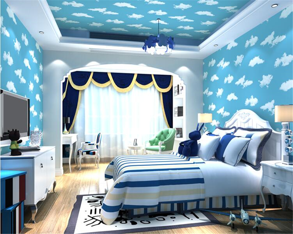 beibehang Blue sky white clouds children princess girl room boy 3d wallpaper simple blue environmental nonwovens wall paper beibehang custom wall paper 3d white european carved blue sky white clouds ceiling ceiling murals background