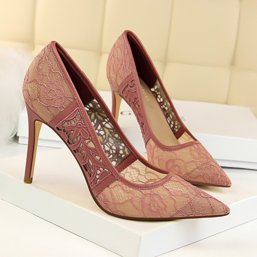 Sexy women pumps Nightclub Thin High heel Shallow mouth Pointed Mesh Hollow Lace women shoes White red green black BIGTREE bigtree summer shoes women elegant pumps pointed sexy ultra thin high shoes high heeled shoes hollow sweet stiletto g3168 3
