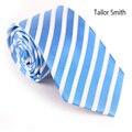 Sob Smith , 100% Natural de seda pura tecido Jacquard gravata listrada de casamento vestido de festa bonito lago azul