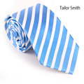 Tailor Smith Formal Business 100% Natural Pure Silk Woven Jacquard Striped Necktie Wedding Dress Party Tie Pretty Lake Blue
