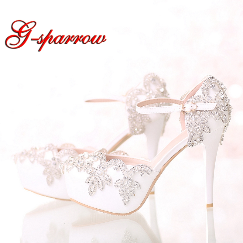 New Design White Bridal Wedding Dress Shoes with Ankle Straps Crystal Bride Shoes Platform Prom Party