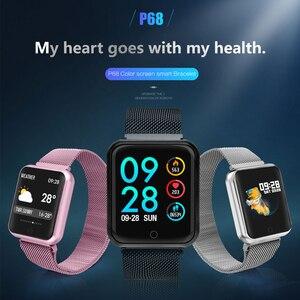 Image 4 - Smart uhr P68 band IP68 wasserdichte smartwatch Dynamische herzfrequenz blutdruck monitor für iPhone Android Sport Gesundheit uhr