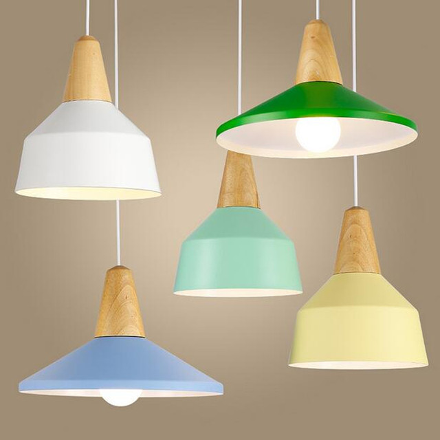 Lustres e Luminarias LED Pendant Lights Hanglamp Colorful wood Pendant Hanging Light For Home Decor Abajur Suspenso Avize Luster