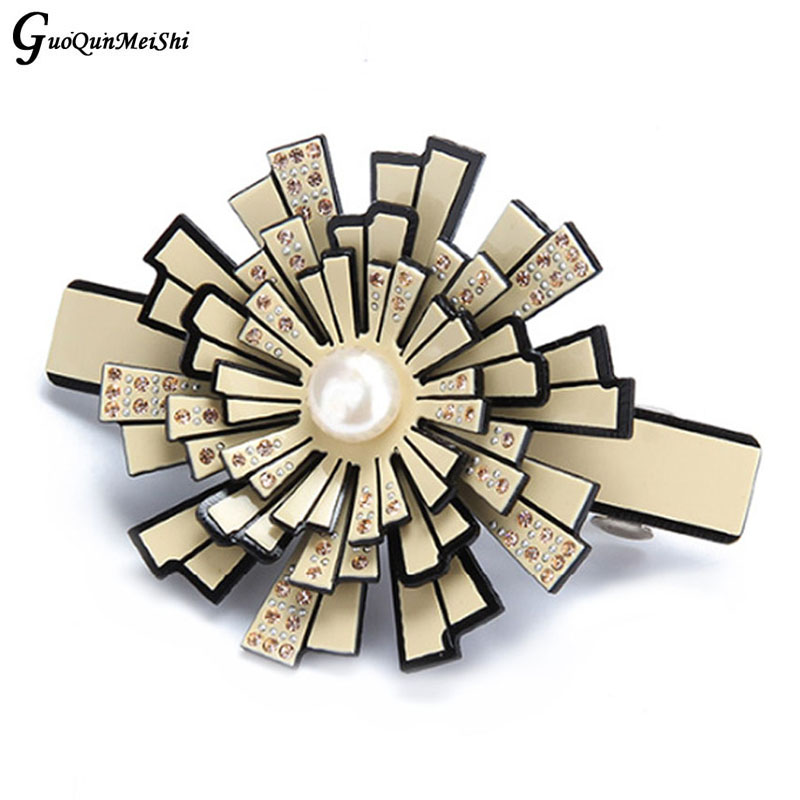New Fashion Retail Hair Pin Acetate Cellulose Pearl Hair Clip with gems for Female Gifts Hair Accessories pins free shipping